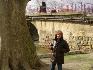 """Christiant Lapalu, ici devant un platane centenaire, est à l'origine de la fronde contre les abattages """"préventifs"""" des arbres sains. (G.C.)"""