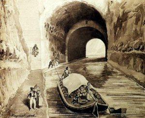 TUNNEL DU MALPAS SUR LE CANAL DU MIDI EN 1886 DESSIN RAYNAL REPRO EMI